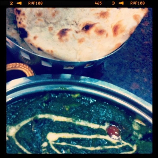 Naan and Palak Paneer at Banana Leaf Apollo, Little India, Singapore